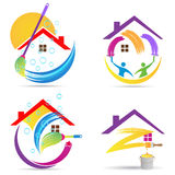 Home cleaning service logo house renovation painting maintenance improvement vector symbol icon design. Stock Photos