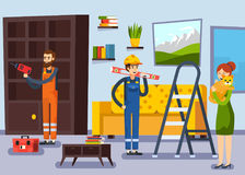 Home Renovation Workmen Flat Poster. Home renovation remodeling flat poster with carpenter and repairman workers characters and woman with cat vector Stock Images