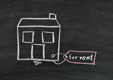 Home for rent on blackboard Stock Images