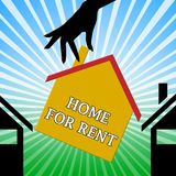 Home For Rent Means Property Rentals 3d Illustration. Home For Rent Hand Means Property Rentals 3d Illustration Stock Photography
