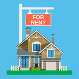 Home for rent icon. Real Estate concept,. Template for sales, rental, advertising. Vector illustration in flat style Stock Images