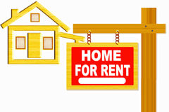 Home for rent sign board with post and home icon design Stock Images