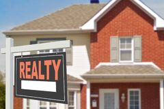 Home for rent. Sign. In front of new home Royalty Free Stock Photo