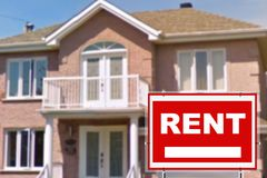 Home for rent. Sign. In front of new home Royalty Free Stock Photography