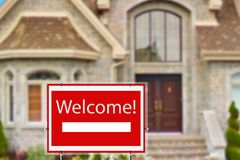 Home for rent. Welcome. Home for rent. Sign in front of new home. Welcome Royalty Free Stock Photos