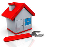 Home repair. 3d illustration of house and wrench, home repair concept Stock Images
