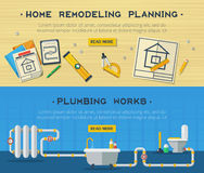 Free Home Repair 2 Flat Banners Set Royalty Free Stock Photography - 64567147