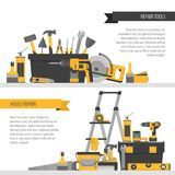 Home repair banner. Сonstruction tools. Hand tools for home ren Royalty Free Stock Images