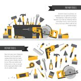 Home repair banner. Construction tools. Hand tools for home reno Royalty Free Stock Image
