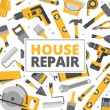 Home repair banner. Construction tools. Hand tools for home reno Royalty Free Stock Photo
