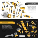 Home repair banner. Construction tools. Hand tools for home reno Royalty Free Stock Photography