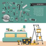 Home repair banner. Hand tools for home renovation and construct Stock Images