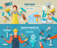 Home Repair Banner Set Stock Images