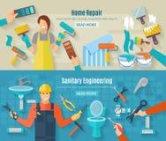 Home Repair Banner Set Stock Images