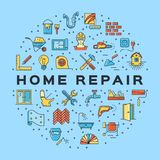 Home Repair circle infographics Construction icon. House remodel thin line art icons. Vector. Flat illustration Royalty Free Stock Photos