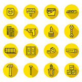 Home repair and construction flat black and yellow vector icons set with shadows. Minimalistic design. Stock Photography
