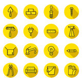 Home repair and construction flat (black and yellow) vector icons set with shadows. Minimalistic design. Royalty Free Stock Image