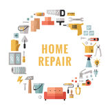 Home repair and construction multicolored flat circle vector frame. Minimalistic design. Icons set. Stock Images