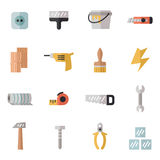 Home repair and construction multicolored flat icons set. Minimalistic design. Part one. Stock Image