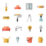 Home repair and construction multicolored flat icons set. Minimalistic design. Part two. Royalty Free Stock Photography