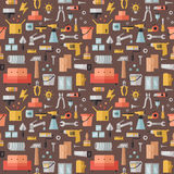 Home repair and construction multicolored flat seamless pattern. Minimalistic design. Royalty Free Stock Photography