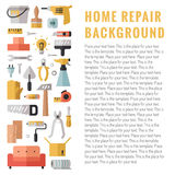 Home repair and construction multicolored flat vertical vector background with place for your text. Modern minimalistic design. Stock Images