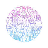 Home repair and construction outline blue-purple circle vector background. Modern minimalistic outline design. Royalty Free Stock Photos