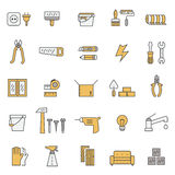 Home repair and construction outline gray and yellow vector icons set. Minimalistic design. Royalty Free Stock Photography