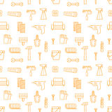 Home repair and construction outline orange and white vector seamless pattern. Minimalistic outline design. Royalty Free Stock Photography