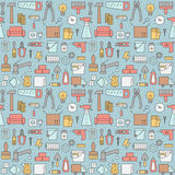 Home repair and construction outline vector seamless pattern. Royalty Free Stock Photos