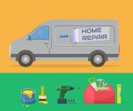 Home repair. Design template for the repair service. Van and tools. Vector illustration stock illustration