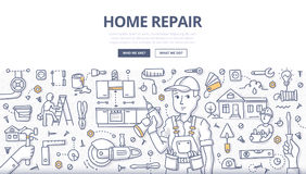 Home Repair Doodle Concept. Doodle  illustration of a handyman with screwdriver in hand surrounded with construction tools & elements. Concept of home repair & Stock Photography