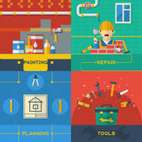 Home Repair 4 Flat Icons Composition Stock Photo