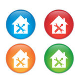Home repair icon. Glass Button Icon Set Stock Photo