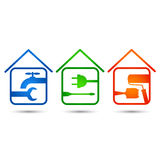 Home repair. Icon set for construction and home renovation Stock Photography