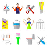 Home repair icons flat set with working instruments Stock Photo