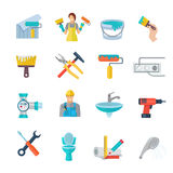 Home Repair Icons Flat Set Stock Photography