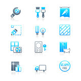 Home repair icons | MARINE series. Home repair, remodelling, redecoration and shop services icon-set Royalty Free Stock Photo