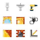 Home repair icons realistic Stock Image