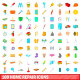 100 home repair icons set, cartoon style Royalty Free Stock Images