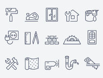 Home repair icons. Thin lines. Flat design royalty free illustration