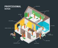 Home Repair Infographic Concept 3d Isometric View. Vector. Home Repair Infographic Concept 3d Isometric View House Construction on a Black Background for Royalty Free Stock Image