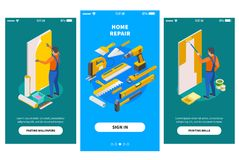 Home Repair Isometric Banners stock illustration