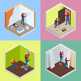Home repair isometric concept set with workers, tools, equipment isolated on white. Building, construction and home. Repair tools. Vector flat isometric royalty free illustration
