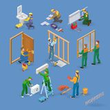 Home repair isometric icons set with workers, tools. Home repair isometric icons set with workers, tools and equipment symbols isolated on blue. Building icons Stock Images