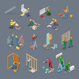 Home repair isometric icons set with workers, tools. Home repair isometric icons set with workers, tools and equipment symbols isolated on grey. Building icons Royalty Free Stock Photography