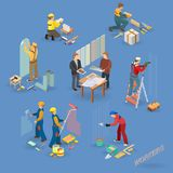 Home repair isometric icons set with workers, tools. Home repair isometric icons set with workers, tools and equipment symbols isolated on blue. Building icons Royalty Free Stock Photography