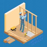 Isometric interior repairs concept. Builder with tools. Stock Photos