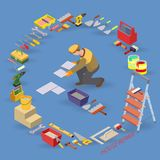 Home repair isometric template. Installing tiles. Repairer is laying tile. Builder in uniform holds a tile. Worker, equipment and items isometric icons. Vector Royalty Free Stock Photos