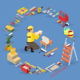 Home repair isometric template. Installing tiles. Repairer is laying tile. Builder in uniform holds a tile. Worker, equipment and items isometric icons. Vector Royalty Free Stock Photo
